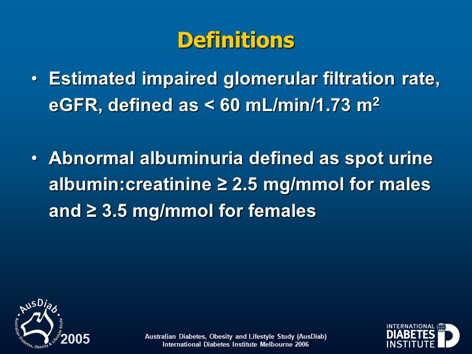 Definitions Estimated impaired glomerular filtration rate, eGFR, defined as < 60 mL/min/1.73 m2.