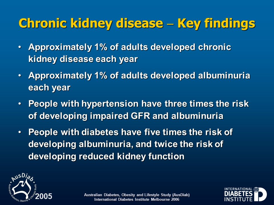 Chronic kidney disease  Key findings