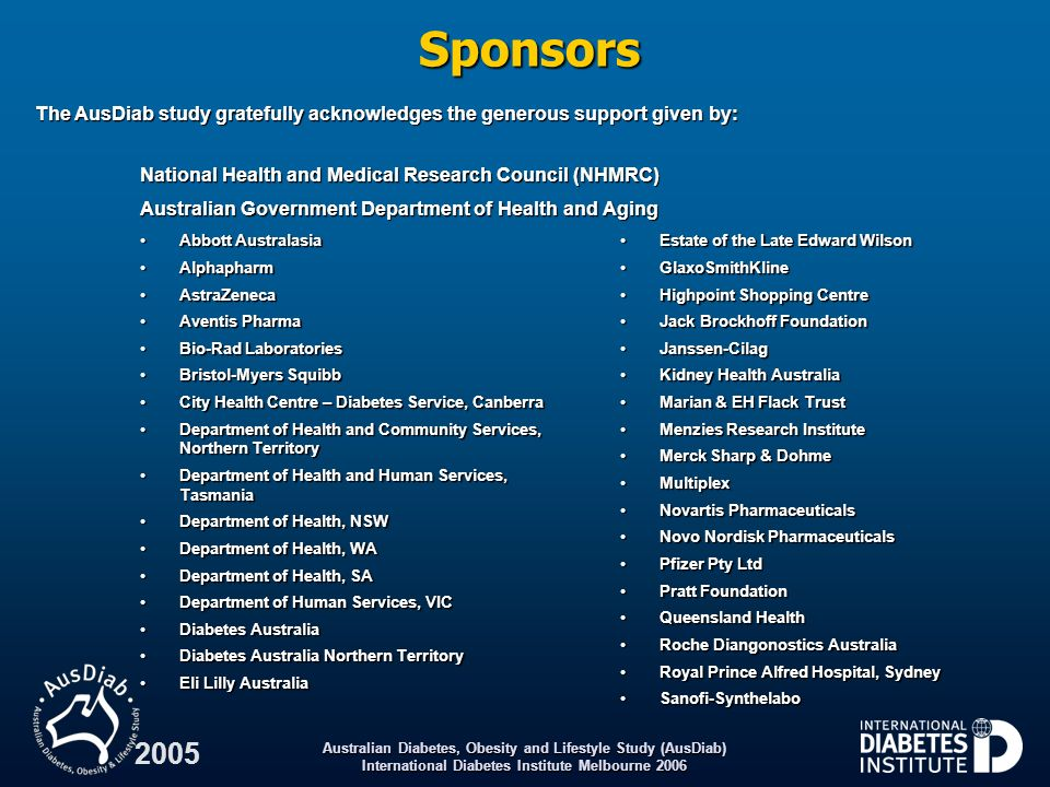 Sponsors The AusDiab study gratefully acknowledges the generous support given by: National Health and Medical Research Council (NHMRC)
