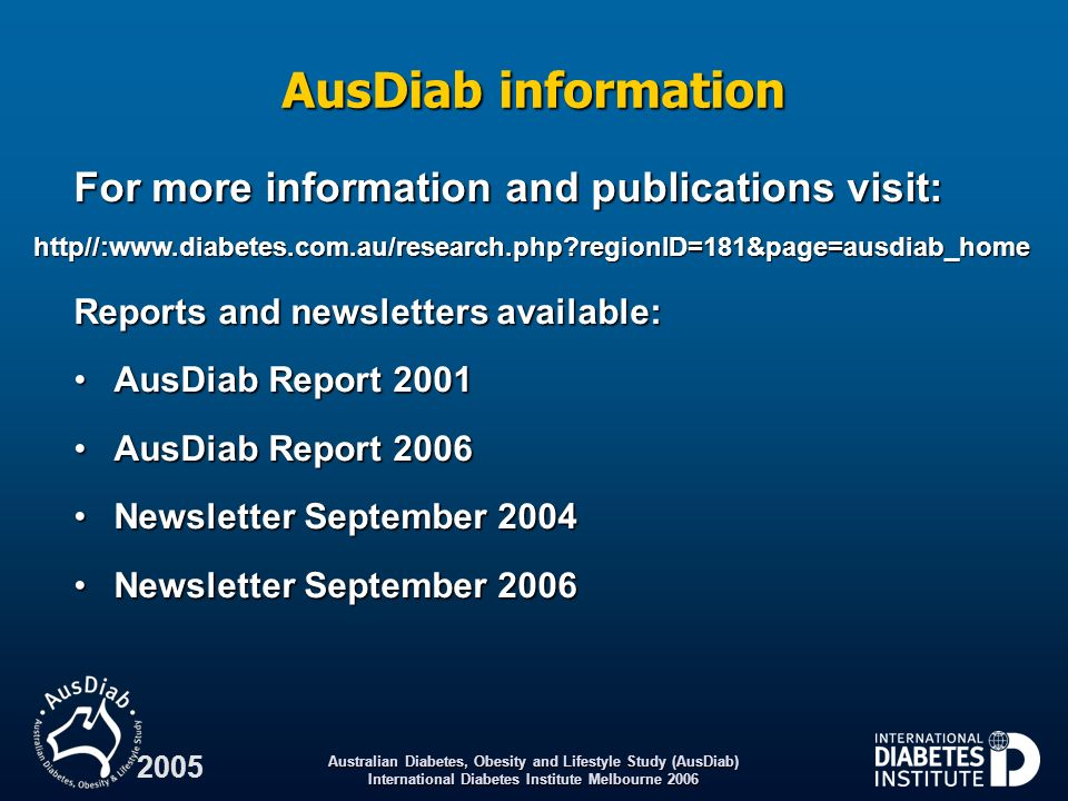 AusDiab information For more information and publications visit: