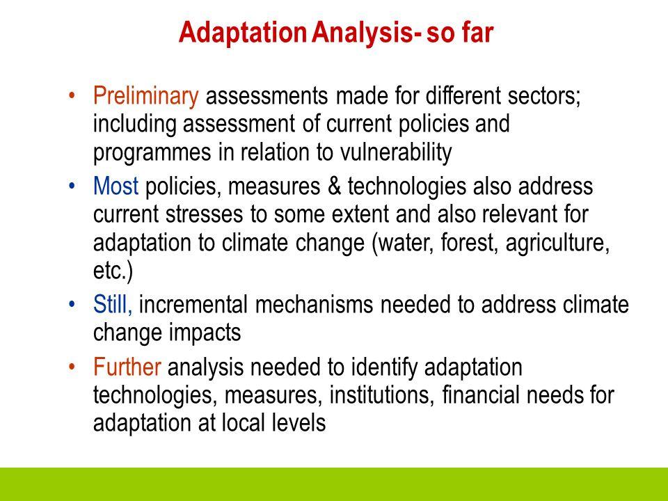 Adaptation Analysis- so far