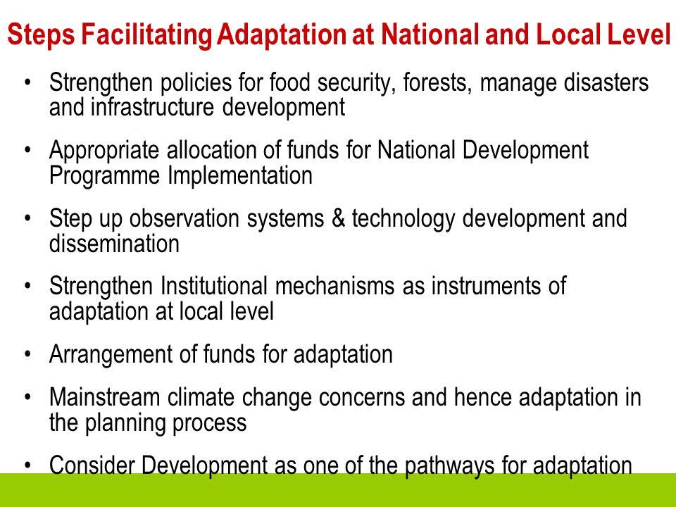 Steps Facilitating Adaptation at National and Local Level