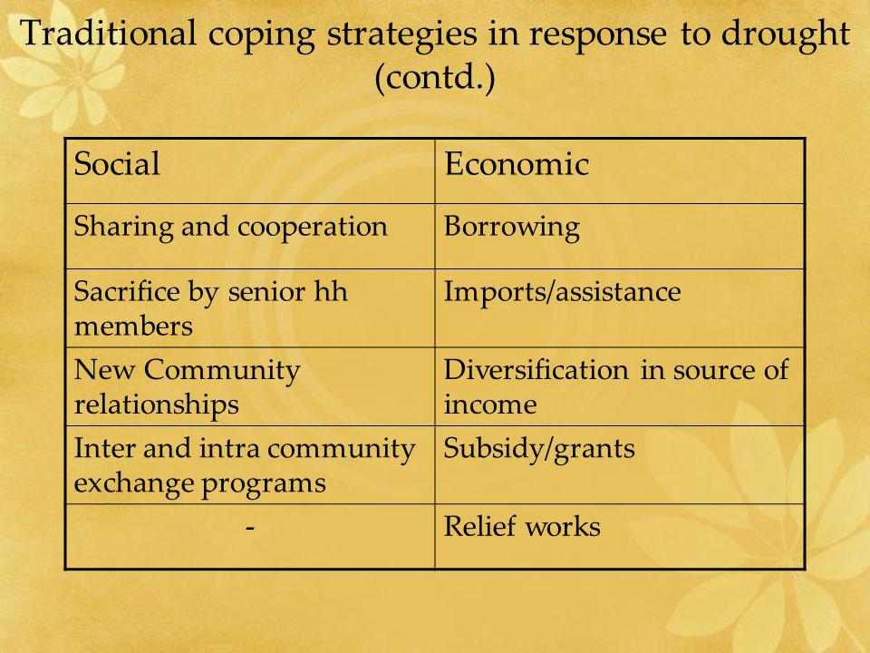 Traditional coping strategies in response to drought (contd.)