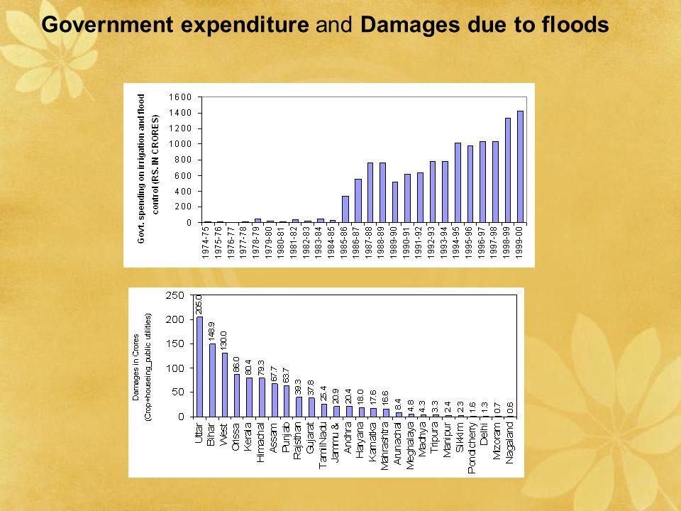 Government expenditure and Damages due to floods