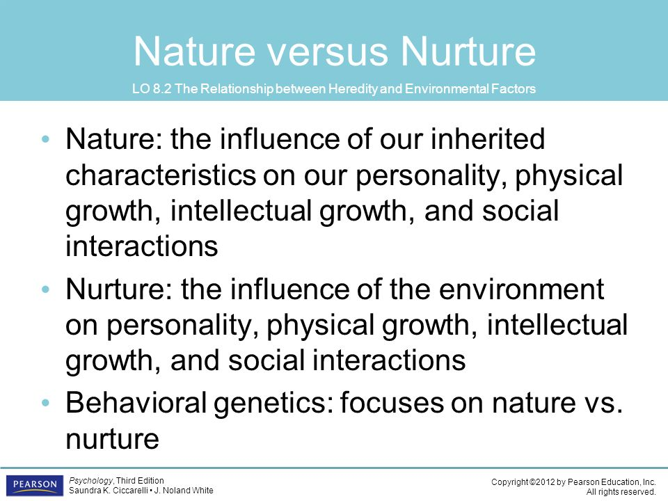 genetic and environmental factors on the development of personality Outweigh genetic influences on the development of twin, adoption, and family studies, haimowitz personality: environmental factors.