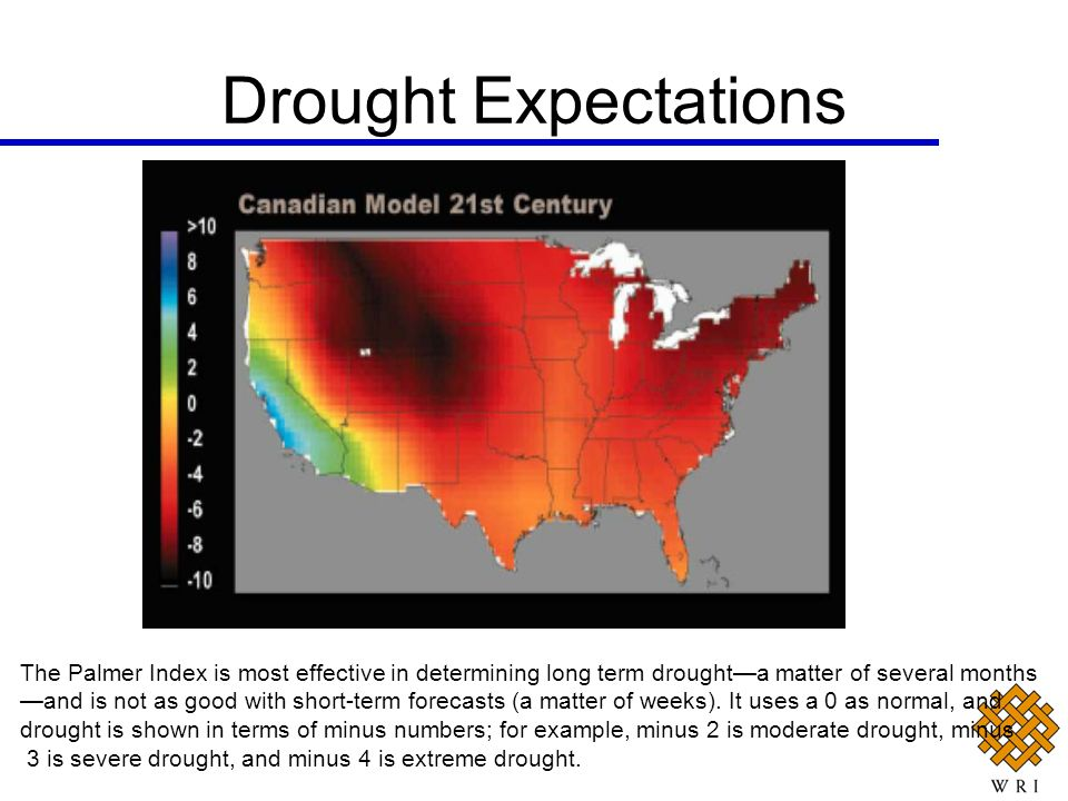 Drought Expectations The Palmer Index is most effective in determining long term drought—a matter of several months.