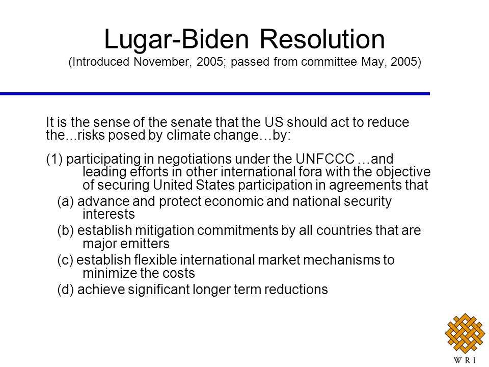 Lugar-Biden Resolution (Introduced November, 2005; passed from committee May, 2005)