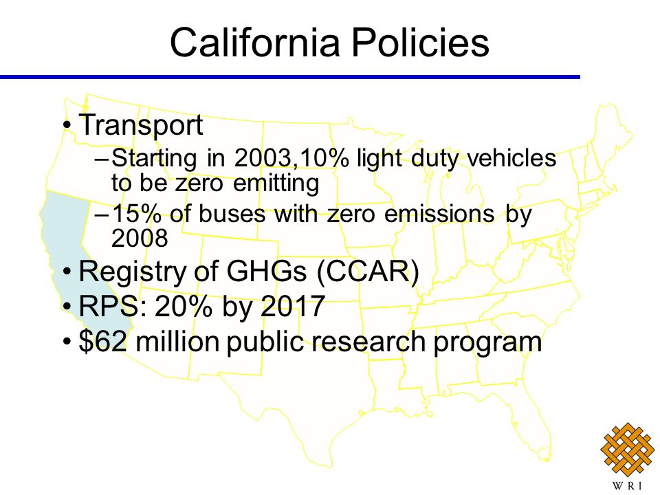 California Policies Transport Registry of GHGs (CCAR) RPS: 20% by 2017