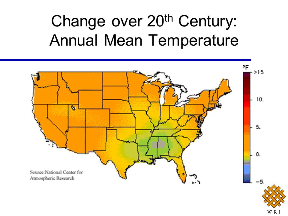 Change over 20th Century: Annual Mean Temperature