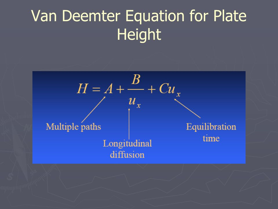 van deemter equation The height equivalent to a theoretical plate (hetp) can be calculated when both n and the column length (l) are known using the van deemter equation.