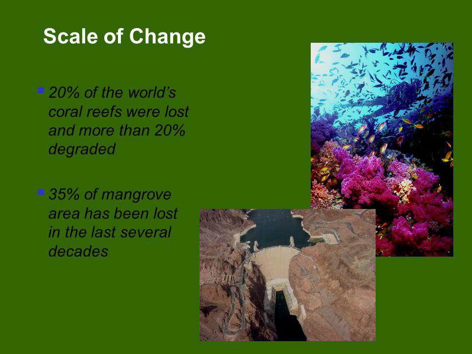 Scale of Change20% of the world's coral reefs were lost and more than 20% degraded. 35% of mangrove area has been lost in the last several decades.