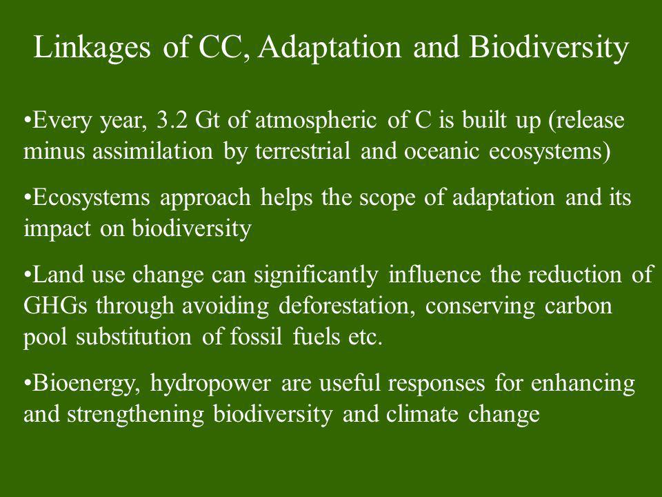 Linkages of CC, Adaptation and Biodiversity