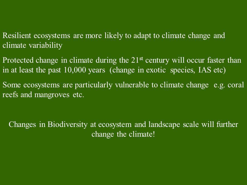 Resilient ecosystems are more likely to adapt to climate change and climate variability