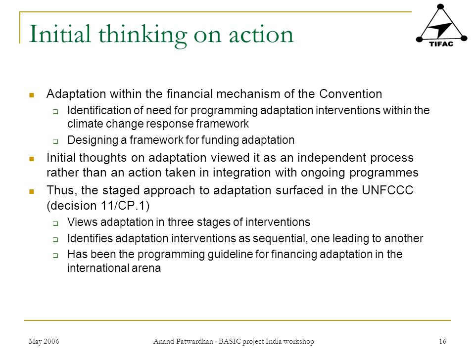 Initial thinking on action