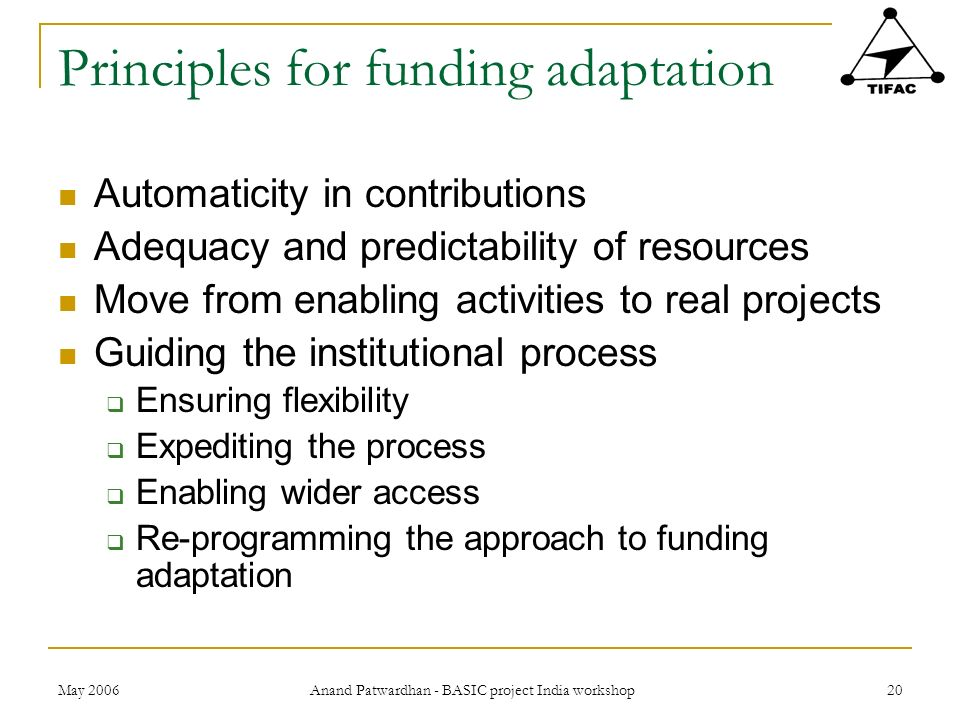 Principles for funding adaptation