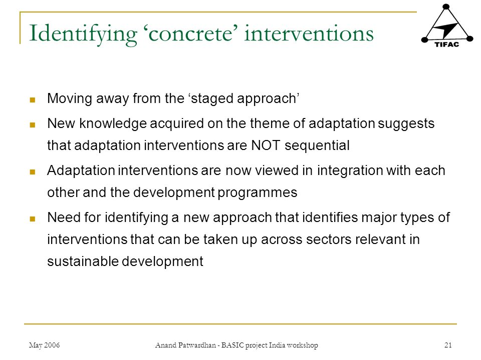 Identifying 'concrete' interventions