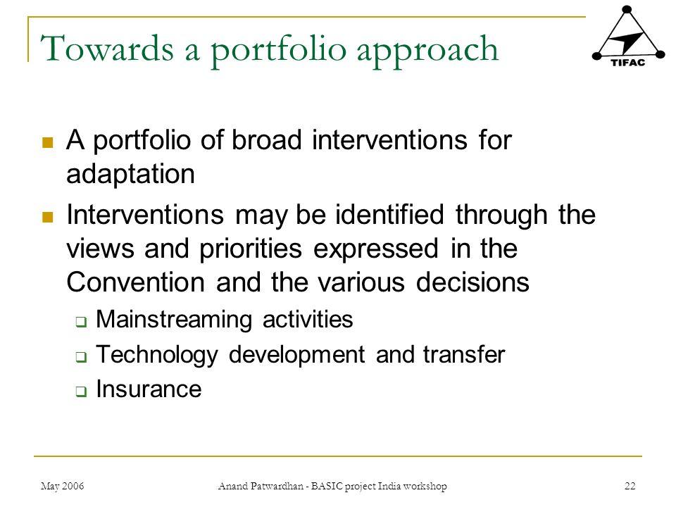 Towards a portfolio approach