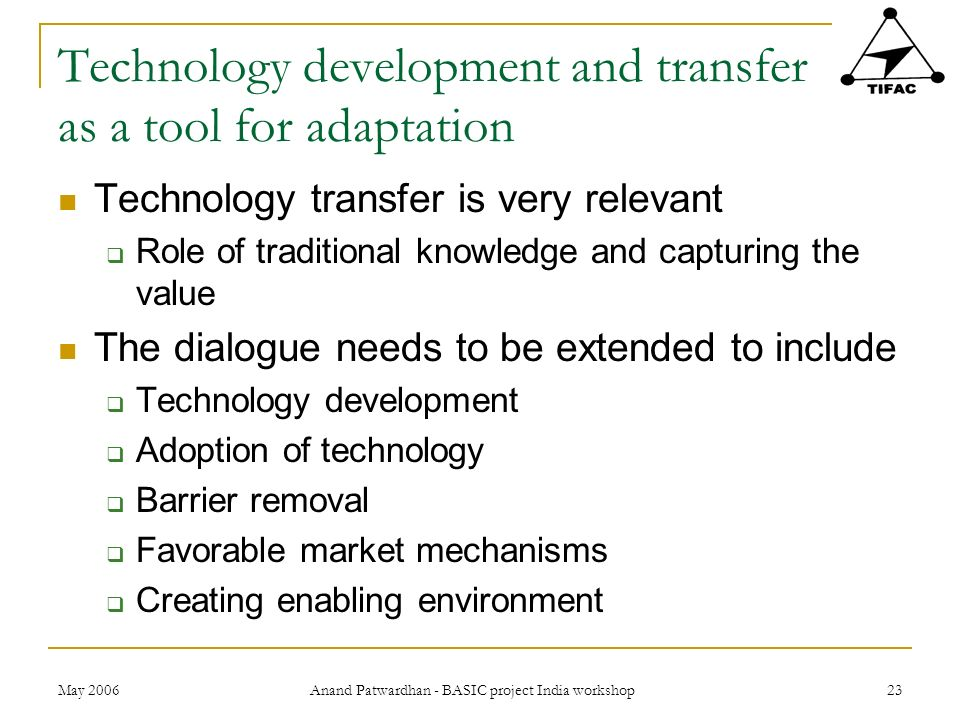 Technology development and transfer as a tool for adaptation