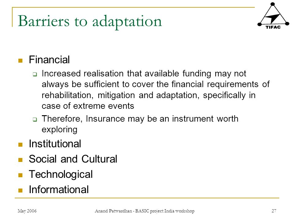 Barriers to adaptation