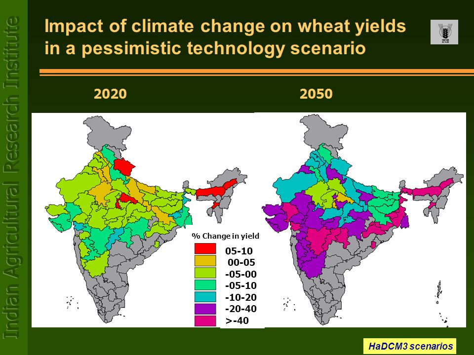 Impact of climate change on wheat yields in a pessimistic technology scenario
