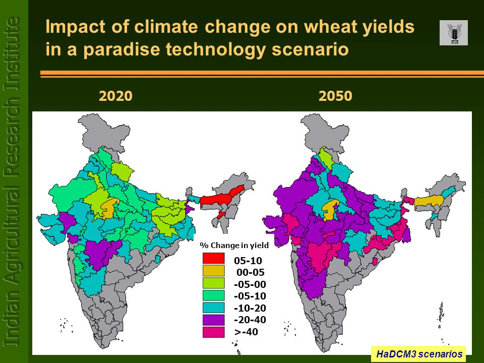 Impact of climate change on wheat yields in a paradise technology scenario