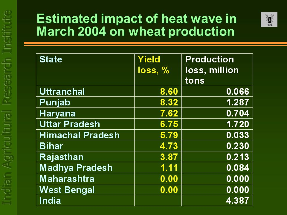 Estimated impact of heat wave in March 2004 on wheat production