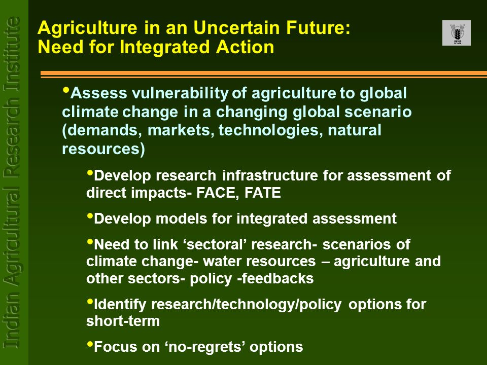 Agriculture in an Uncertain Future: Need for Integrated Action