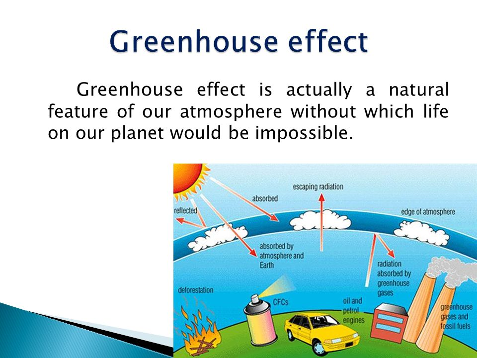 Greenhouse effect Greenhouse effect is actually a natural feature of our atmosphere without which life on our planet would be impossible.