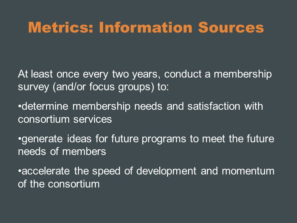 Metrics: Information Sources