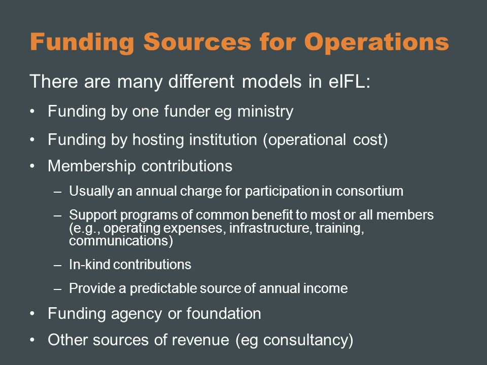 Funding Sources for Operations
