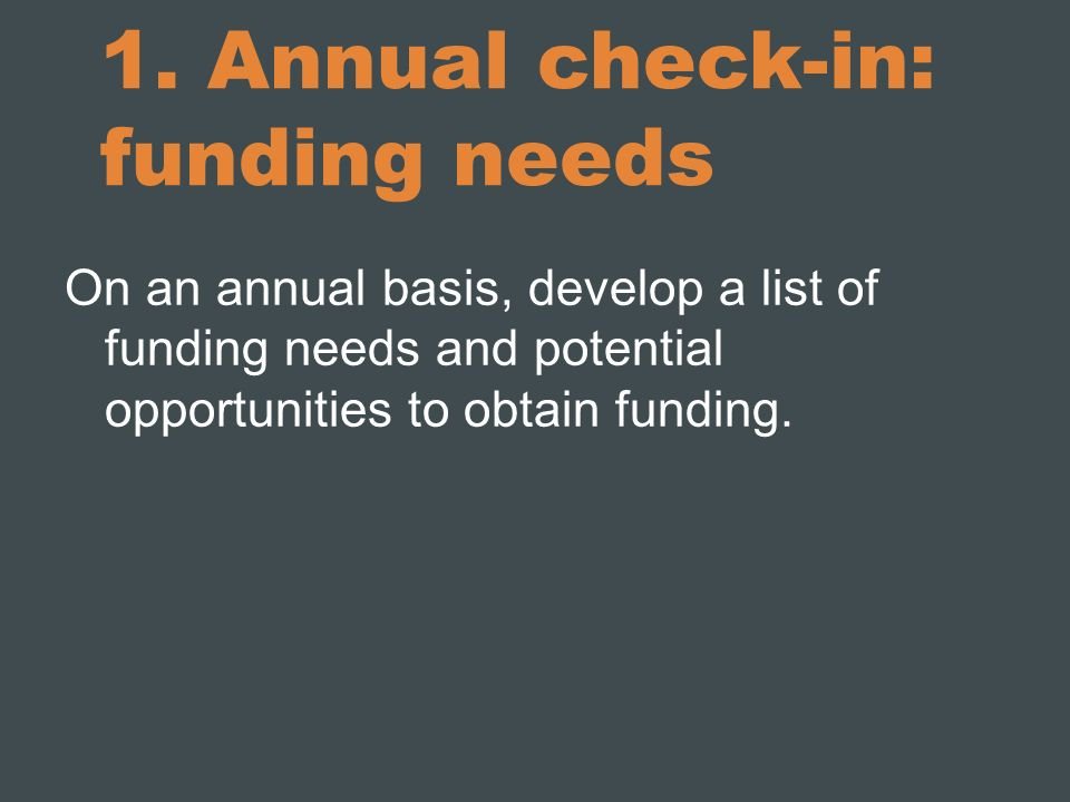 1. Annual check-in: funding needs