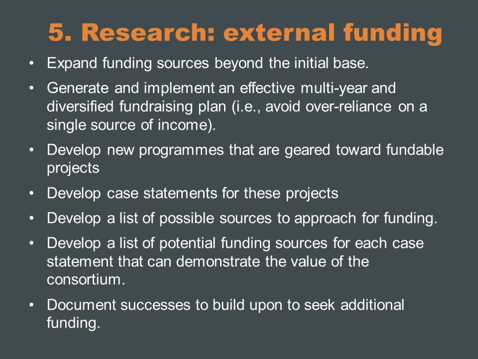 5. Research: external funding