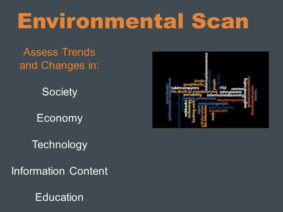 Environmental Scan Assess Trends and Changes in: Society Economy