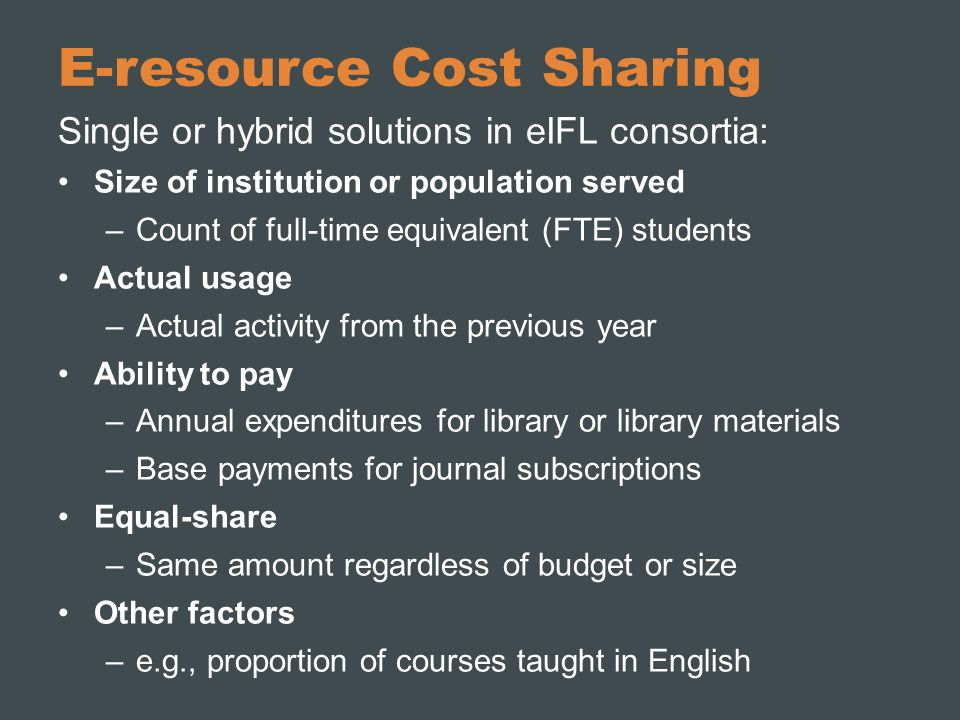 E-resource Cost Sharing