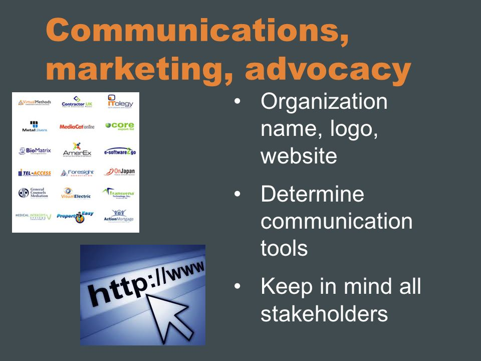 Communications, marketing, advocacy