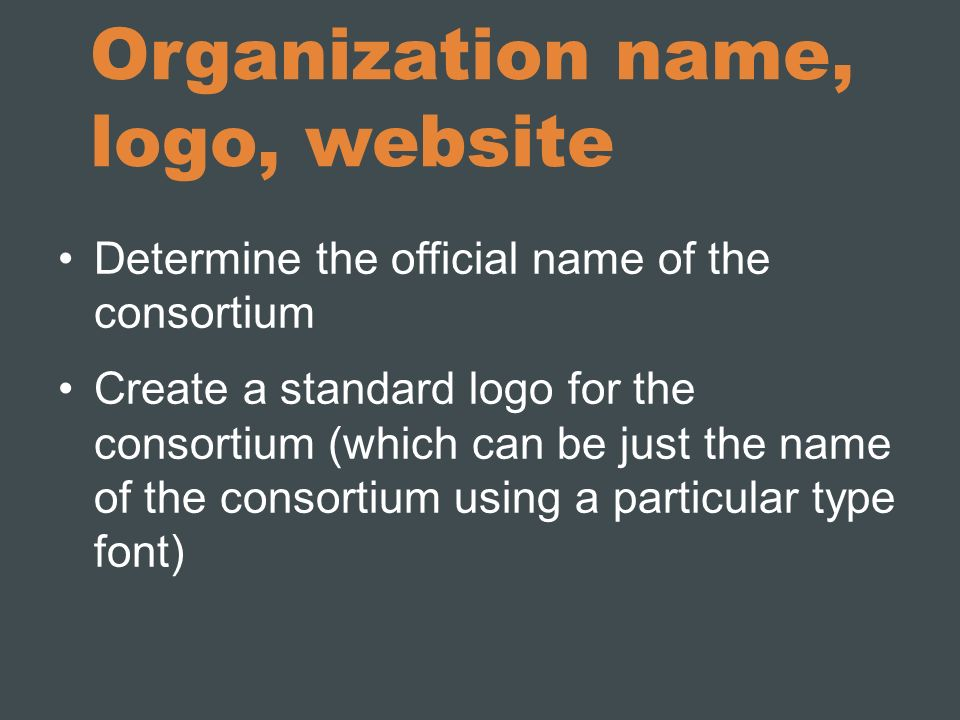 Organization name, logo, website