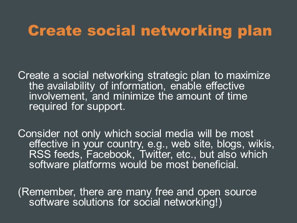 Create social networking plan