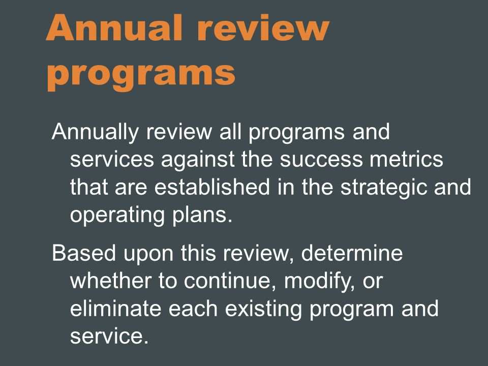 Annual review programs
