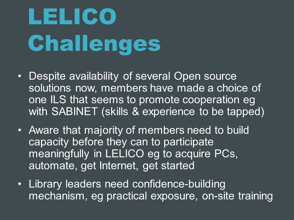 LELICO Challenges