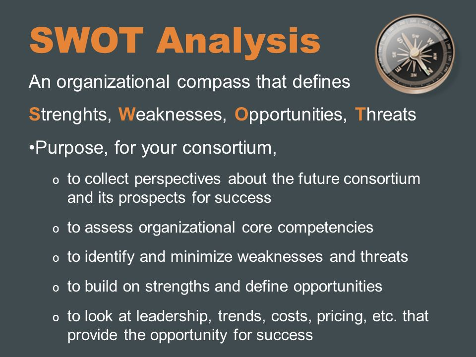SWOT Analysis An organizational compass that defines