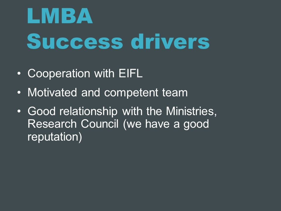 LMBA Success drivers Cooperation with EIFL