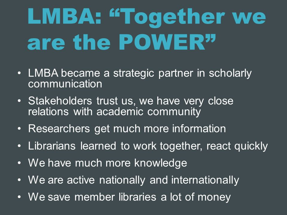 LMBA: Together we are the POWER