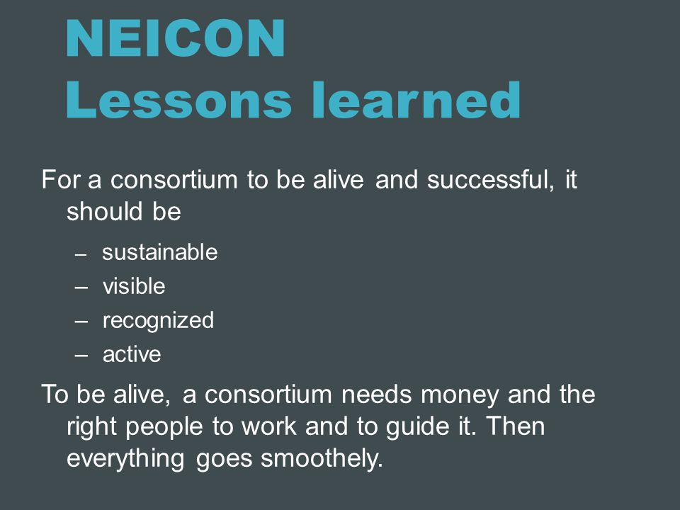 NEICON Lessons learned