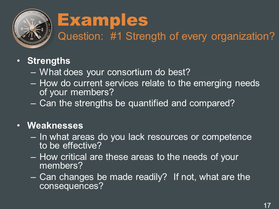 Examples Question: #1 Strength of every organization Strengths