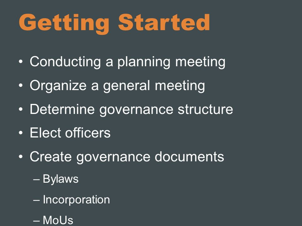 Getting Started Conducting a planning meeting