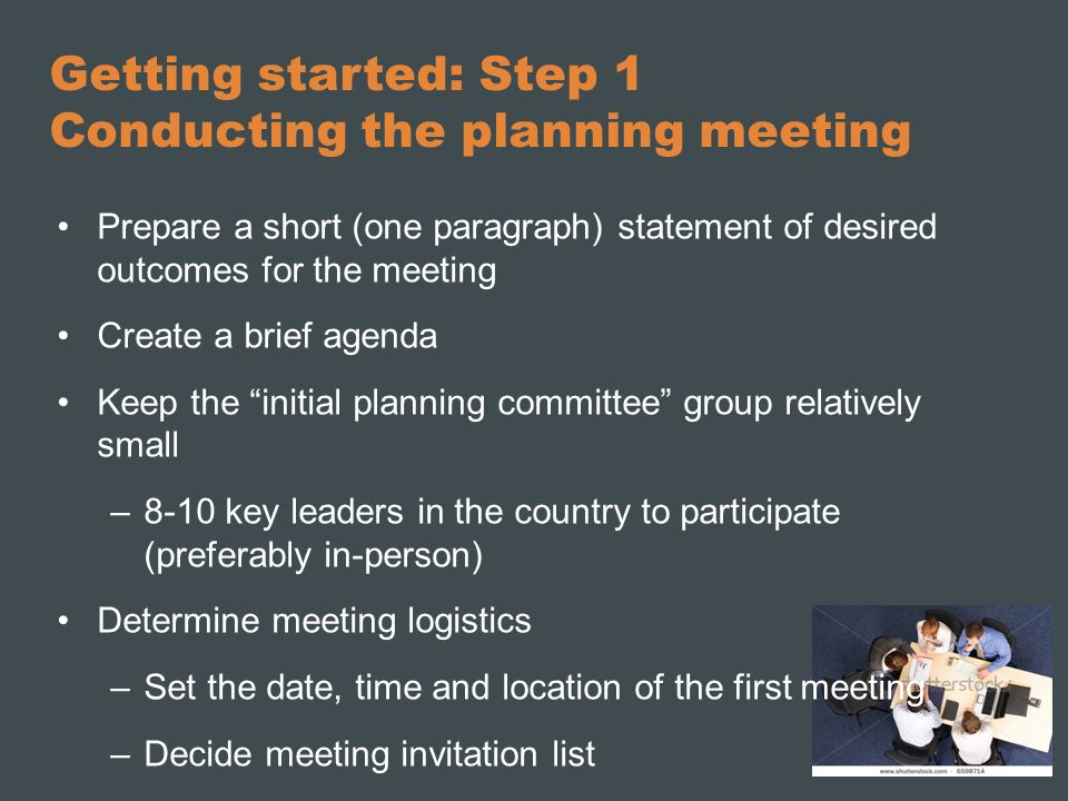 Getting started: Step 1 Conducting the planning meeting