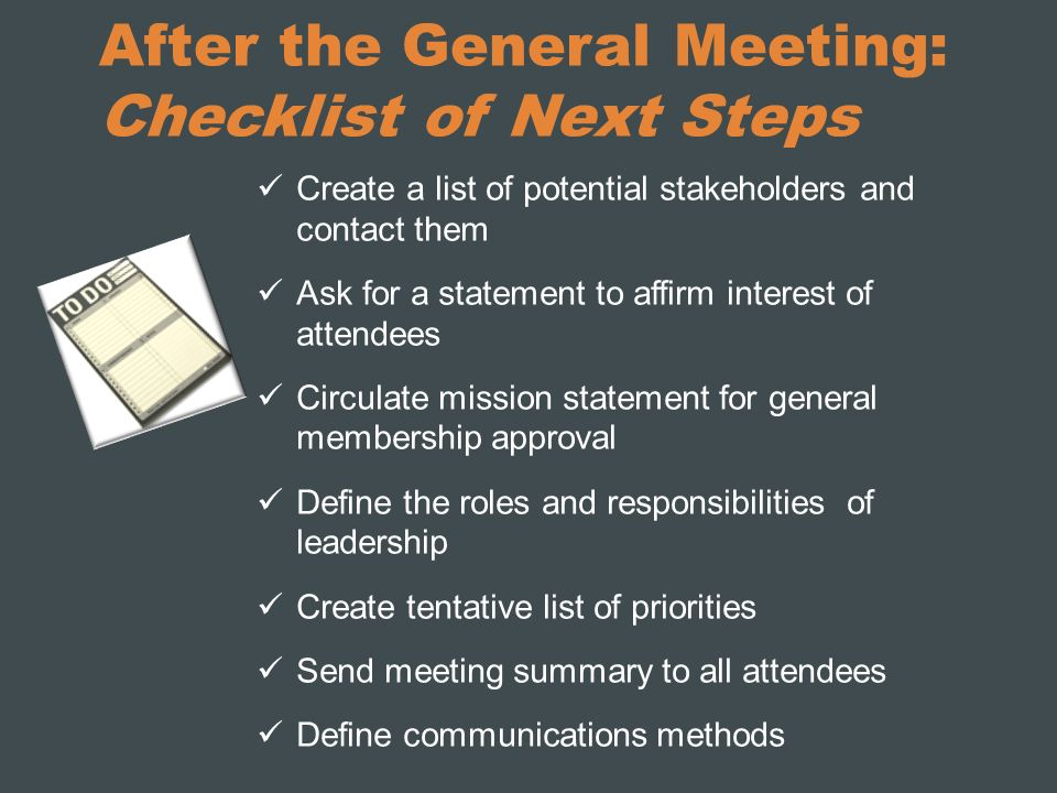 After the General Meeting: Checklist of Next Steps