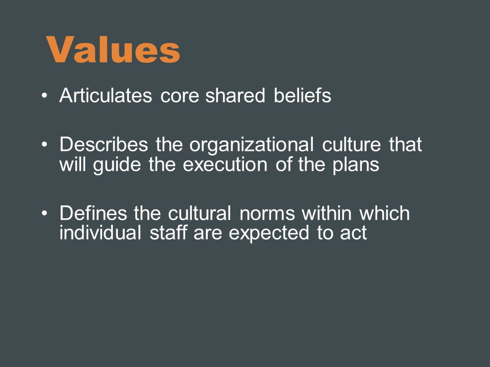 Values Articulates core shared beliefs