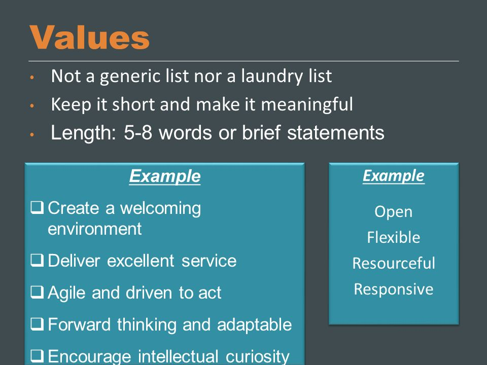 Values Not a generic list nor a laundry list