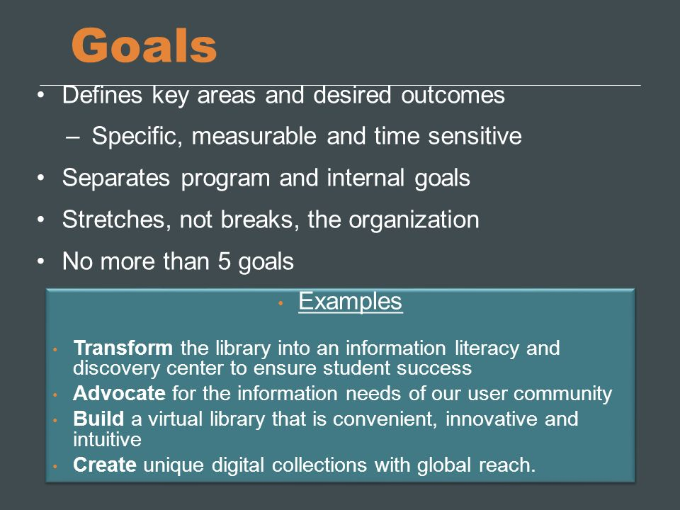 Goals Defines key areas and desired outcomes